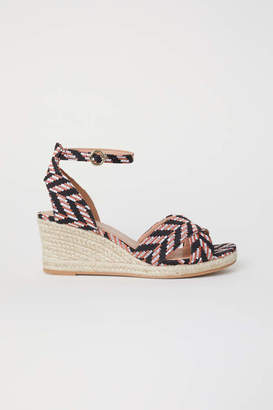 H&M Wedge-heel Sandals - Black/patterned - Women