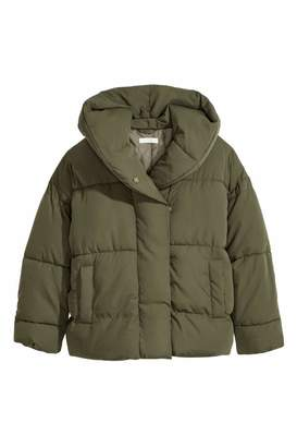 H&M Padded Jacket with Hood - Khaki green - Women