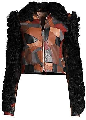 Michael Kors Women's Cropped Patchwork Leather Shearling Jacket