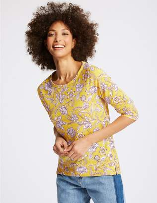Marks and Spencer Floral Print Raglan 3/4 Sleeve T-Shirt