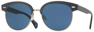 Oliver Peoples Shaelie Monochromatic Semi-Rimless Sunglasses, Navy