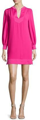 Trina Turk Long-Sleeve Crepe Shift Dress, Magpie Magenta $298 thestylecure.com