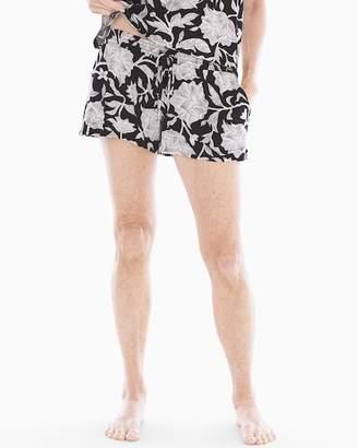 Cool Nights Smocked Waist Pajama Shorts Floral Dream Black