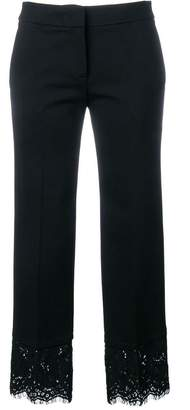 Twin-Set lace trim cropped trousers