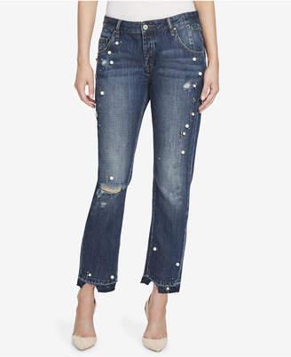 William Rast Embellished Cotton Boyfriend Jeans