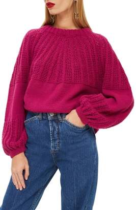 Topshop Pointelle Ball Sleeve Sweater