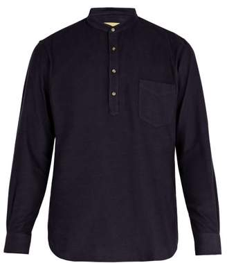 De Bonne Facture - Grandad Collar Cotton Shirt - Mens - Navy