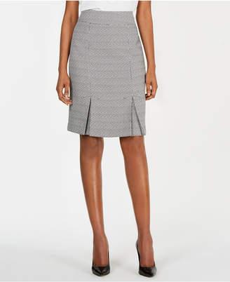 Kasper Tweed Box-Pleated Skirt