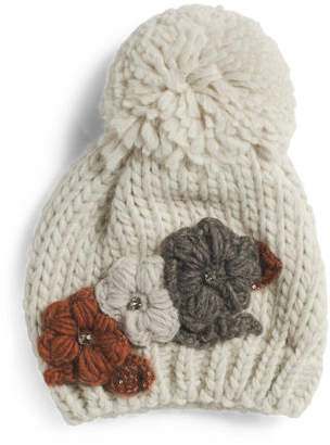 Made In Italy Multi Floral Applique Self Knit Pom Hat