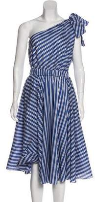 Milly Striped One-Shoulder Dress w/ Tags