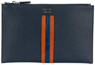 Prada contrast stripe zipped pouch