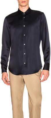 Maison Margiela Satin Viscose Shirt in Navy Blue | FWRD