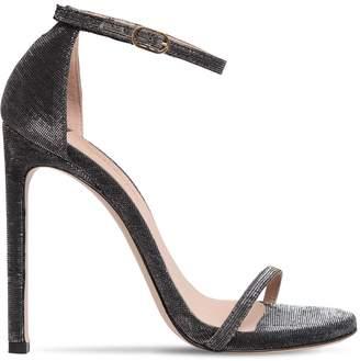 Stuart Weitzman 120mm Nudist Glittered Fabric Sandals