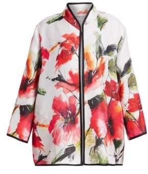 Caroline Rose Plus Poppy Bouquet Print Jacket