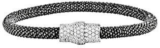 Italian Silver Mesh Crystal Magnetic Bracelet