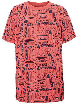 Fat Face Boys' Surf Board Sketch Print T-Shirt, Red