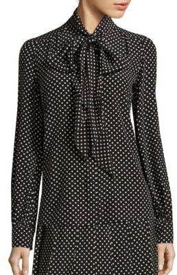 Marc Jacobs Polka-Dot Silk Tie-Neck Blouse $395 thestylecure.com
