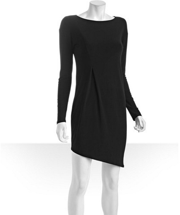 A.B.S. by Allen Schwartz black stretch jersey asymmetrical long sleeve dress