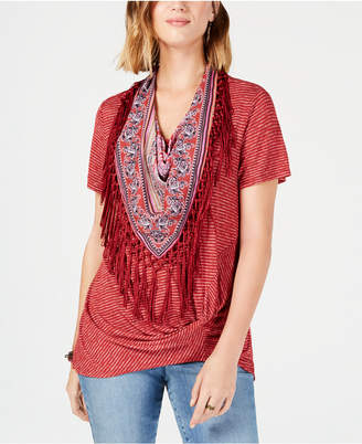 Style&Co. Style & Co Fringed-Scarf Faux-Knot Top