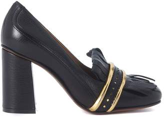 L'Autre Chose Black Leather Heeled Loafer