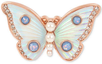 Betsey Johnson Rose Gold-Tone Crystal & Imitation Pearl Butterfly Ring