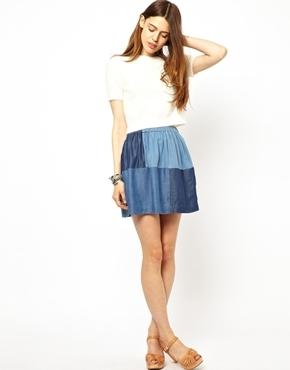 Paul & Joe Sister Skirt in Patched Denim - Blue denim