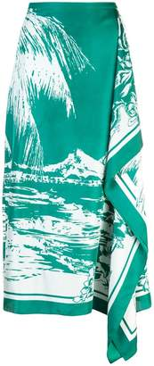 Tibi silk asymmetric printed skirt