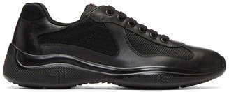 Prada Black Leather and Mesh Sneakers