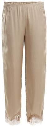 Icons Buttercup Lace Trimmed Silk Pyjama Trousers - Womens - Beige