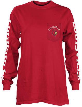 Pressbox Women's Louisville Cardinals Long Sleeve Pocket T-Shirt