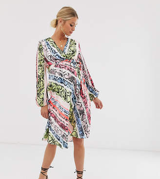 b4f1532fc09e5c Flounce London Maternity satin wrap midi dress in animal print