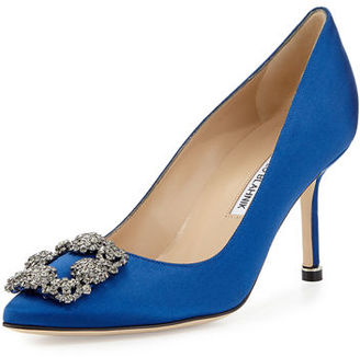 Manolo Blahnik Hangisi Crystal-Buckle Satin 70mm Pump, Cobalt $965 thestylecure.com