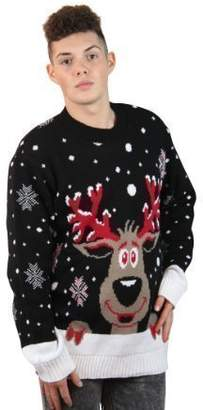 Girltalk clothing Men's Vintage Reindeer Christmas Jumper Crew Neck Pullover Sweater