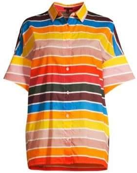 Escada Women's Nelluni Multicolor Stripe Tunic Shirt - Size 36 (6)