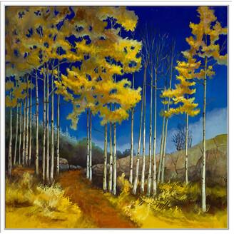 Jonathan Bass Studio Yellow Aspen, Decorative Framed Hand Embellished Canvas