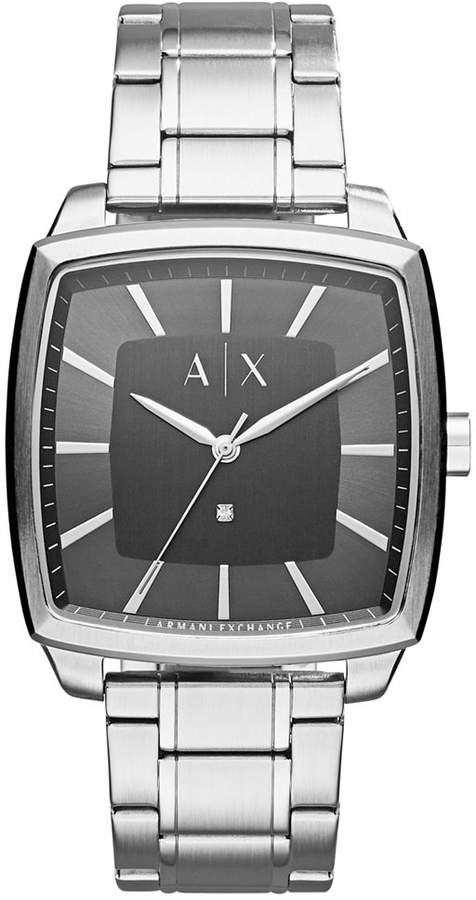 Armani Exchange  A|X Armani Exchange Men's Diamond Accent Stainless Steel Bracelet Watch 40x40mm AX2360