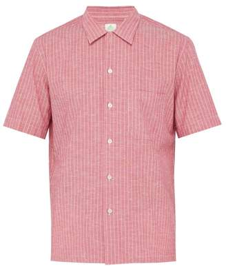 Finamore 1925 - Bart Short Sleeved Striped Slub Cotton Shirt - Mens - Red Multi
