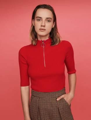 Maje Fancy and zipped turtleneck sweater