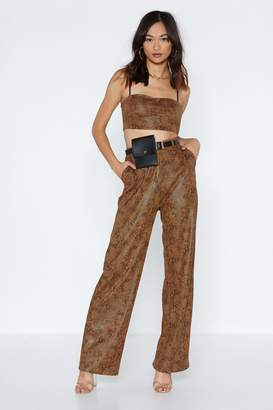Nasty Gal Snake a Piece of My Heart Wide-Leg Pants