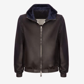Bally Hooded Leather Bomber Jacket Black, Men's leather jacket in black