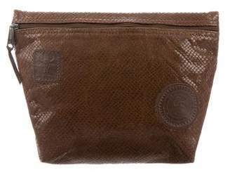 Carlos Falchi Snakeskin Cosmetic Pouch