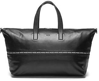 HUGO BOSS Expandable leather holdall with logo-trimmed zipper