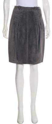 Christian Dior Suede Pleated Skirt