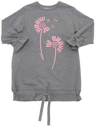 Simonetta Flower Patches Cotton Sweatshirt Dress