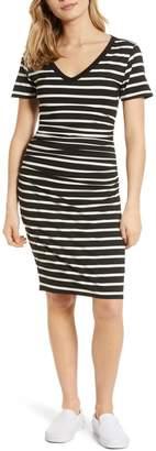 BP Stripe Ruched Body-Con Dress