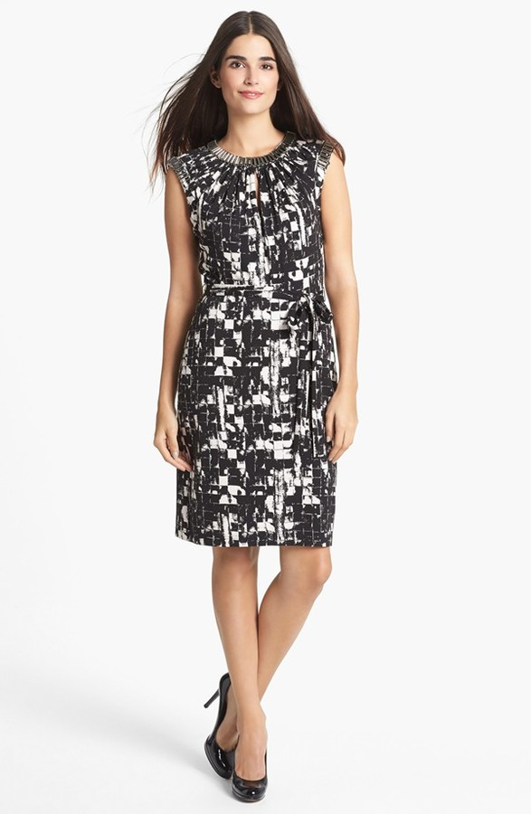 Adrianna Papell Embellished Neck Print Jersey Dress