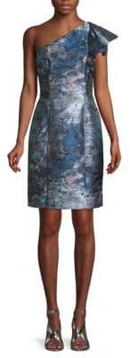 Carmen Marc Valvo One-Shoulder Sheath Dress
