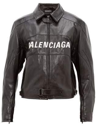 Balenciaga Oversized Logo Applique Leather Biker Jacket - Mens - Black