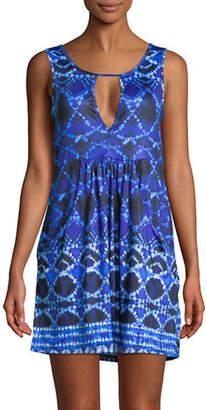 J Valdi Batik Deep Pocket Keyhole Dress