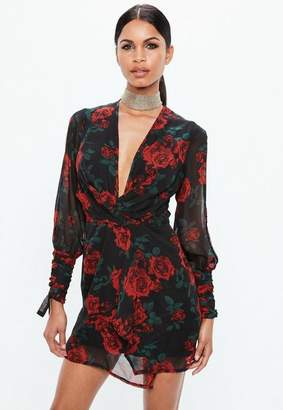 Missguided Red Slit Sleeve Knot Front Rose Print Wrap Dress